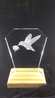 """Sandblasted ..best hummingbird stencil ever seen and give to me from Jess...with those led lights...good figure """"purple..."""