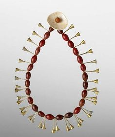 India | Necklace worn by the Ao Naga women in Nagaland | Carnelian beads, brass and shell.