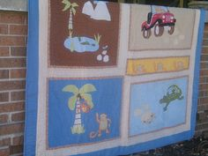 """Vintage Monkey & Alligator with Palm Trees 64"""" X 85"""" Quilt . Starting at $6"""