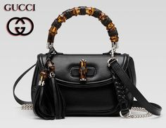 The original Gucci Bamboo handbags are small bags with rigorous lines and fine crafts. They are made of pig skin leather, with curved bamboo handle.