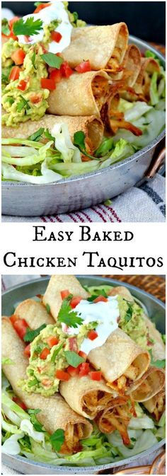 Baked Chicken Taquitos filled with seasoned shredded chicken and cheese! Add your favorite toppings and enjoy at your next fiesta! The Foodie Affair #chickenfoodrecipes