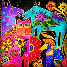 Laurel Burch Quilts Kindred Creatures 12 Projects for Applique and Embellishments Laurel Burch, Pintura Hippie, Cat Quilt, Mexican Folk Art, Art For Art Sake, Whimsical Art, Art Plastique, Cat Art, Art Projects