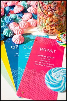 meringues, invitations, kendra scott, grand opening party