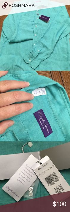 Beautiful RALPH LAUREN Linen MADE IN ITALY Shirt Beautifully made RALPH LAUREN Linen MADE IN ITALY Button Up Shirt. In an lovely Aqua/Teal color. My t-shirt and cargo shorts husband was not as impressed as I had hoped. Ralph Lauren Tops Button Down Shirts
