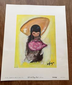 Vintage Rare Collectible Ted DeGrazia Vtg No 840 1967 Collograph Southwest Girl With Piggy Bank , AA Inc American Indian Decor, Unique Vintage, Vintage Items, Paper Dimensions, Native American Indians, Piggy Bank, Etsy Store, Ted, Vibrant Colors