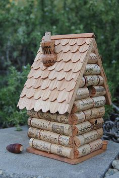 Great use for the leftover wine corks! Wine Cork Bird House. I've been meaning to make this for two years!