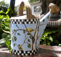 Lovely Vintage WATERING Can Hand Painted