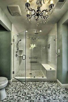 Love the glamorous chandelier.