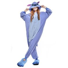 This blue onesie costume is the perfect way to dress as Stitch, from Lilo and Stitch. The blue flannel fleece costume has a light blue stomach and a button placket in the front, so it is easy to get on. The hood includes floppy ears, eyes and a nose.
