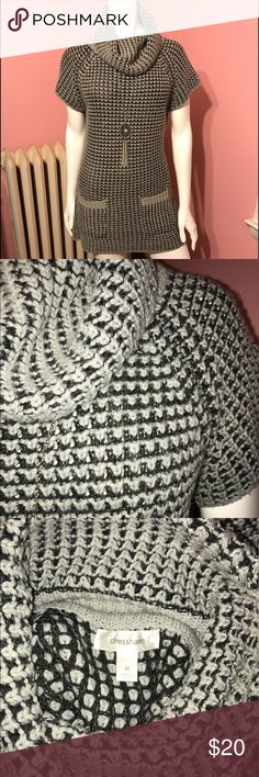 Chunky Knit Sweater Adorable short sleeved tunic sweater with double pocket detail and cowl neck. Grey and black chunky knit with very subtle silver lurex throughout for a very soft shimmer. Could be a dress if you're petite, but designed as a tunic. Fantastic with boots and leggings!! Dress Barn Sweaters Cowl & Turtlenecks