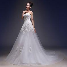 Linha+A+Vestido+de+Noiva+Cauda+Capela+Coração+Renda+/+Tule+com+Com+Apliques+–+USD+$+104.49