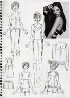 Fashion Sketchbook page - fashion design drawings & research; fashion portfolio // Lisa Yost