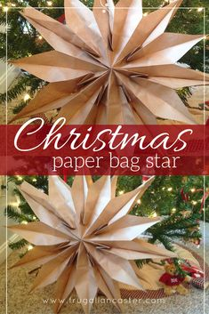 DIY Christmas Paper Bag Star {A Quick Ten-Minute Craft} - Simple holiday craft idea for kids and adults. DIY Christmas Paper Bag Star {A Quick Ten-Minute Craft} - Simple holiday craft idea for kids and adults. Paper Christmas Decorations, Christmas Paper Crafts, Paper Ornaments, Christmas Projects, Holiday Crafts, Paper Bag Decoration, Diy Decoration, Dollar Store Christmas, Christmas Bags