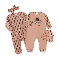 Newborn Take Home Outfit Hello World Baby Romper Set by TesaBabe