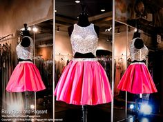 2015 Pink Two Piece Crop Top Homecoming Sweet Sixteen Dress from Rsvp Prom and Pageant