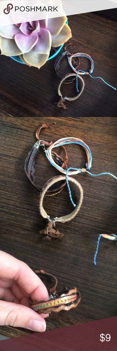 Bundle! ✌ 3 leather/cord bracelets Bundle! ✌ 3 leather/cord bracelets   the two leather ones were purchased by me from a jewelry maker in Costa Rica, the rainbow cord one is a brand new Pura Vida bracelet. All three never worn! Pura Vida Jewelry Bracelets