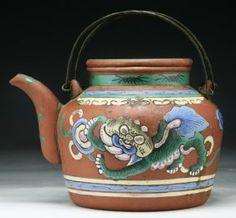 A Chinese Antique Polychrome Enameled Zisha Teapot
