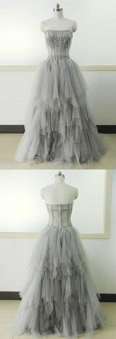 2017 prom dress, long prom dress, grey long prom dress, formal evening dress, party dress