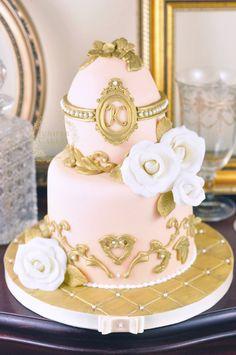Gold and Peach Fabergé Egg Cake!