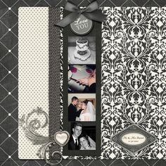 Digital scrapbook layout of wedding. Okay, but the photos are too small and I think the papers overpower them. I added this because it's wedding but it's not my favorite. Wedding Scrapbook Pages, Scrapbook Paper Crafts, Scrapbook Albums, Scrapbook Cards, Photo Layouts, Scrapbook Page Layouts, Freebies, Wedding Book, Wedding Albums
