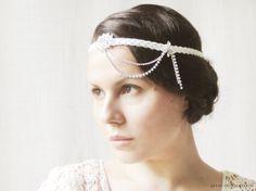 1920s Inspired Bridal Headpiece, Flapper Headband, White Wedding, Gatsby Style Hair Accessories, Art Deco, Rhinestones, Dangles on Etsy, $55.00