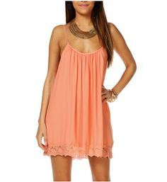 Peach Sleeveless Crochet Tunic | Relaxed tunic has a slouchy silhouette and adjustable thin straps. Scoop neckline, sleeveless. Tunic can be worn as a dress or top. Crochet trim.