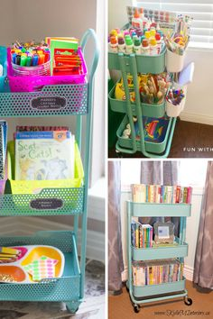 25 creative ways to use a RASKOG cart to organize your home, for craft supplies, and more. Create a mobile makeup cart and more with Ikea RASKOG! Kids Art Storage, Craft Storage Cart, Arts And Crafts Storage, Craft Organization, Ikea Raskog Cart, Ikea Cart, Kids Craft Supplies, Crafts For Kids, Art Supplies