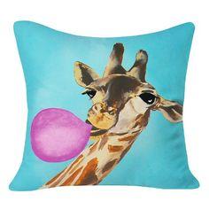 Coco De Paris Giraffe Blowing Bubblegum Throw Pillow Blue x Deny Designs Modern Throw Pillows, Blue Throw Pillows, Kids Pillows, Outdoor Throw Pillows, Decorative Throw Pillows, Blowing Bubble Gum, Pillows Online, Pillow Reviews, 5 D