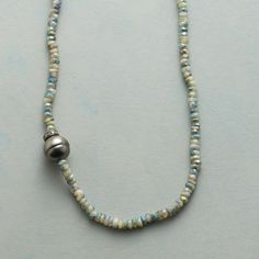 """CONSTANT COMPANIONS NECKLACE--Forever in tandem with a pavé diamond disk, one cultured Tahitian pearl casts its silvery glow on a strand of mystic aquamarines. Button clasp. Exclusive. Handcrafted in USA. 20""""L."""