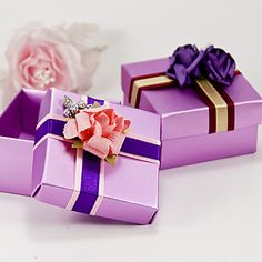 Lilac Square Favor Box With Ribbon And Flower (Set of 6) – USD $ 6.99
