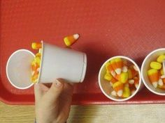 The value of scooping and pouring and counting candy corn in preschool – Teach Preschool Halloween Theme Preschool, Fall Preschool, Teach Preschool, Preschool Rooms, Preschool Themes, Fun Fall Activities, Kids Learning Activities, Sensory Play, Candy Corn