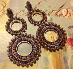 Beadwork Double Hoop Earrings Amethyst.  Goddess Beaded Earrings. $45.00, via Etsy.