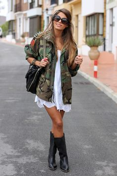 Army jacket over white with boots