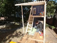 How To Build a Backyard Playhouse: Add mats, pillows and some decorations. Then invite friends over to show off your new backyard fort. From DIYnetwork.com