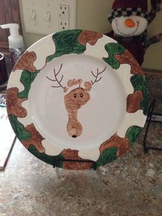 Deer footprint plate Max and I made for Daddy for Christmas!