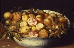 """Osias Beert : """"Citrons, grenades et branches de citronnier dans une coupe de Chine posée sur un entablement"""" (1610)"""