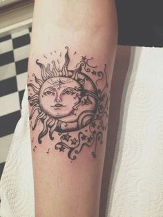 Sun and moon thigh tat idea