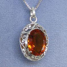 Citrine Jali Filigree Pendant Necklace - Sterling Silver