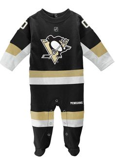 Pittsburgh Penguins Baby Uniform Black Uniform Creeper Pajamas