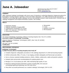Sample Resume For Radiographer