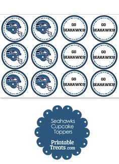 Seattle Seahawks Cupcake Toppers from PrintableTreats.com