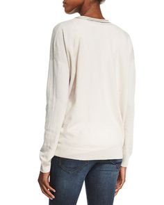 B31R2 Brunello Cucinelli Monili-Trim V-Neck Cashmere Sweater, Vanilla