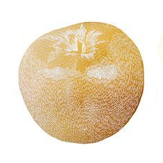 Lino Print - Mega Gold Apple by Monika Peterson (Denmark)