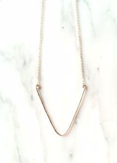 Hammered V Necklace Gold Chevron Necklace Delicate V Necklace Large Triangle V Charm Necklace