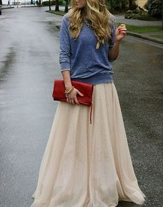 Sweatshirt worn with a tulle skirt