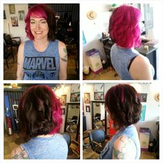 Half Magenta, half natural black- Harley Quinn style! Complete with a sleek long-bob.  Hair by Nicky B-Bombshell Salon New Westminster, BC Where Geek is Chic!