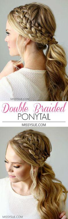 Double Braided Ponytail | http://MissySue.com top braid hairstyles, easy braids, kid braids, fashion braid