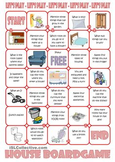 House Board Game worksheet - Free ESL printable worksheets made by teachers The Effective Pictures We Offer You About Board Games box A quality picture can tell you many things. You can find the most English Games, English Tips, English Class, English Lessons, Teaching English, Learn English, French Lessons, Spanish Lessons, Teaching Spanish
