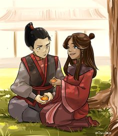 A scene from Tempest in a Teacup, a Zutara AU in which Katara is captured in a fire nation raid and raised under Iroh (and becomes childhood friends with Zuko).