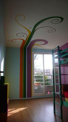Décor peint mur et plafond chambre d'ados  https://www.facebook.com/zinzoline-peinture-d%C3%A9co-139089589494474/photos